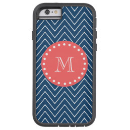 Navy Blue Chevron Pattern | Coral Monogram Tough Xtreme iPhone 6 Case