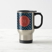 Navy Blue Chevron Pattern | Coral Monogram Travel Mug