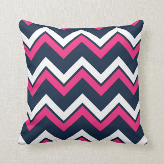 Navy Blue Chevron Pattern Decorative Throw Pillow