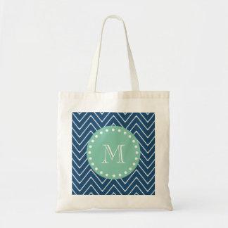 Navy Blue Chevron Pattern   Mint Green Monogram Budget Tote Bag