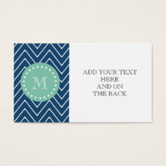 Navy Blue Chevron Pattern | Mint Green Monogram Business Card at Zazzle