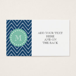 Chevron business cards templates zazzle navy blue chevron pattern mint green monogram business card colourmoves Gallery