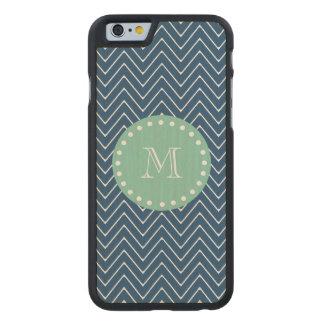Navy Blue Chevron Pattern | Mint Green Monogram Carved® Maple iPhone 6 Slim Case
