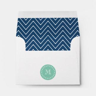 Navy Blue Chevron Pattern | Mint Green Monogram Envelopes