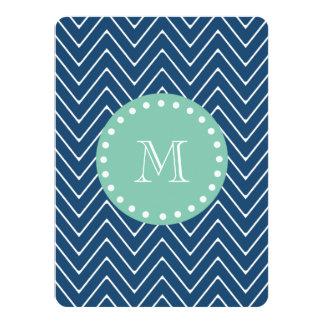 Navy Blue Chevron Pattern | Mint Green Monogram 5.5x7.5 Paper Invitation Card