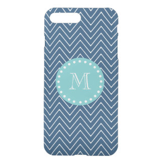 Navy Blue Chevron Pattern | Mint Green Monogram iPhone 8 Plus/7 Plus Case