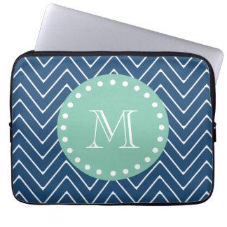 Navy Blue Chevron Pattern | Mint Green Monogram Laptop Sleeves