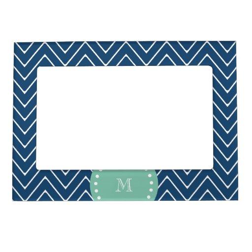 Navy Blue Chevron Pattern | Mint Green Monogram Magnetic Photo Frame