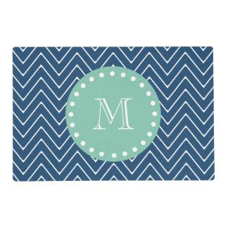 Navy Blue Chevron Pattern | Mint Green Monogram Laminated Place Mat