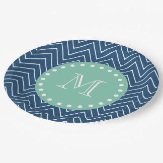 Navy Blue Chevron Pattern | Mint Green Monogram Paper Plate