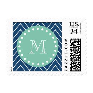 Navy Blue Chevron Pattern   Mint Green Monogram Postage Stamps