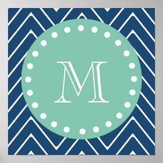 Navy Blue Chevron Pattern   Mint Green Monogram Poster