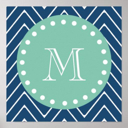 Navy Blue Chevron Pattern | Mint Green Monogram Print