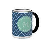 Navy Blue Chevron Pattern | Mint Green Monogram Ringer Coffee Mug