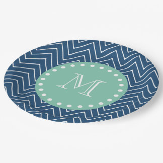 Navy Blue Chevron Pattern | Mint Green Monogram 9 Inch Paper Plate