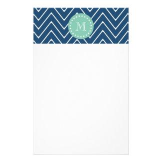 Navy Blue Chevron Pattern Mint Green Monogram Stationery Paper