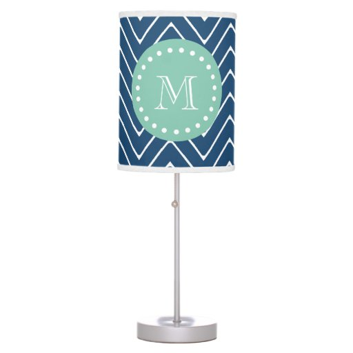 Navy Blue Chevron Pattern Mint Green Monogram Table Lamp