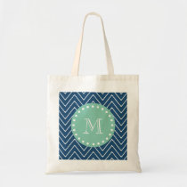 Navy Blue Chevron Pattern | Mint Green Monogram Tote Bag