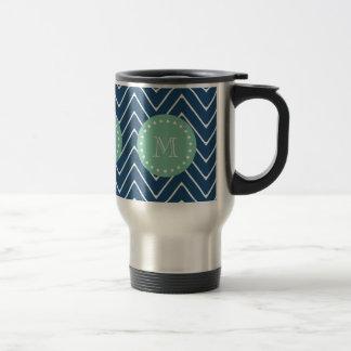 Navy Blue Chevron Pattern | Mint Green Monogram Travel Mug