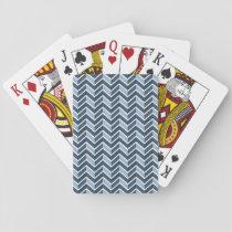 Navy Blue Chevron Pattern Playing Cards