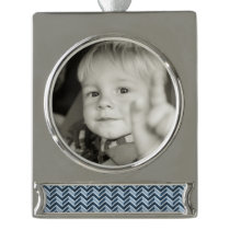 Navy Blue Chevron Pattern Silver Plated Banner Ornament