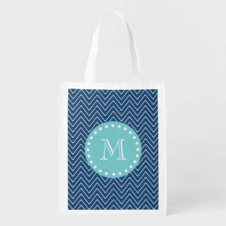 Navy Blue Chevron Pattern | Teal Monogram Grocery Bag