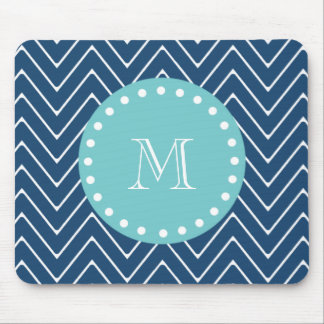 Navy Blue Chevron Pattern | Teal Monogram Mouse Pad
