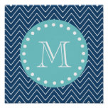 Navy Blue Chevron Pattern | Teal Monogram Poster