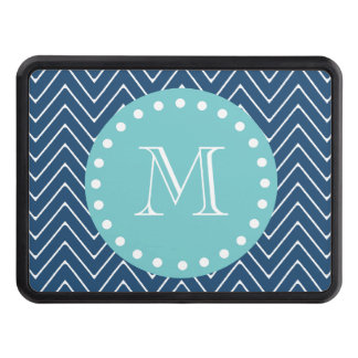 Navy Blue Chevron Pattern | Teal Monogram Tow Hitch Cover