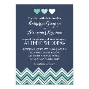 Navy Blue Chevron Pattern Wedding Invitation 5