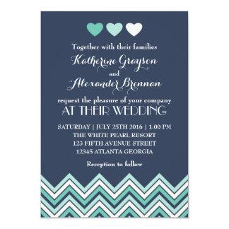 "Navy Blue Chevron Pattern Wedding Invitation 5"" X 7"" Invitation Card"