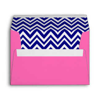 Navy Blue Chevron Pattern with Hot Pink Envelope