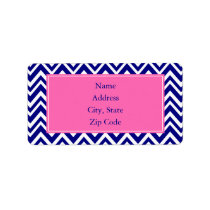 Navy Blue Chevron Pattern with Hot Pink Label