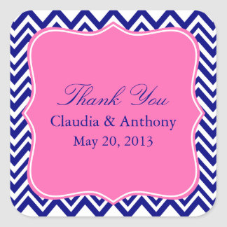 Navy Blue Chevron Pattern with Hot Pink Thank You Square Sticker