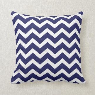 Navy Blue Chevron Pillow