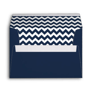 Navy Blue Chevron Print Envelope