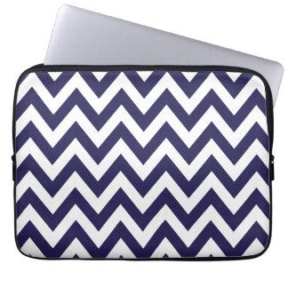 Navy Blue Chevron Stripes Laptop Computer Sleeves