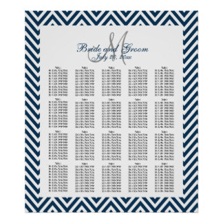 Navy Blue Chevron Wedding Seating Chart 200