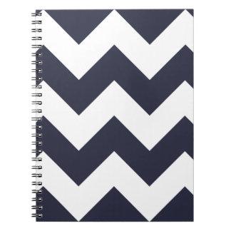 Navy Blue Chevron Zigzag Notepad Spiral Notebook