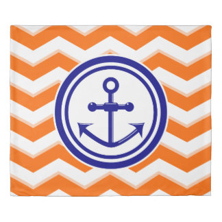 Navy Blue Chevron Zigzag Pattern Anchor Smile Duvet Cover