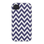 Navy Blue Chevron Zigzag Stripes Vibe iPhone 4 Cover