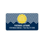 Navy Blue Chevrons with Custom Yellow Monogram Personalized Address Labels