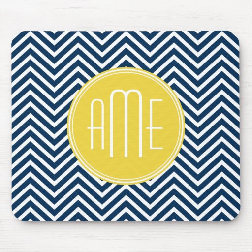 Navy Blue Chevrons with Custom Yellow Monogram Mouse Pad