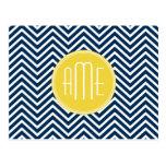 Navy Blue Chevrons with Custom Yellow Monogram Postcard