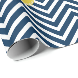 Navy Blue Chevrons with Custom Yellow Monogram Wrapping Paper