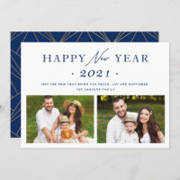 Navy Blue Chic 2021 Happy New Year 2 Photo Holiday Card