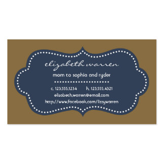 Navy Blue Chic Moderna Mommy Calling Card Double-Sided Standard Business Cards (Pack Of 100)