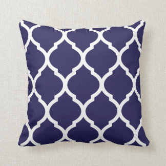 Navy Blue Chic Moroccan Lattice Pattern Throw Pillow