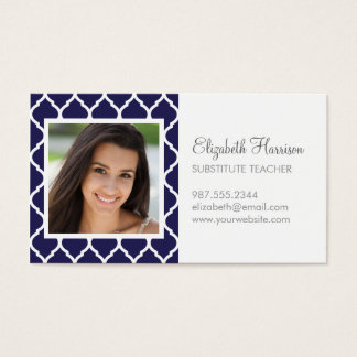 Navy Blue Chic Moroccan Lattice Photo Business Card