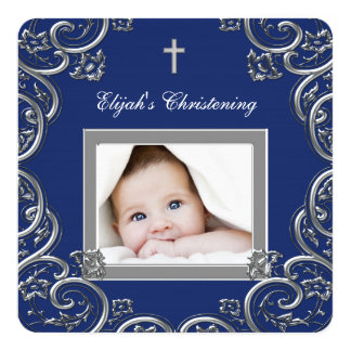 "Navy Blue Christening 5.25"" Square Invitation Card"